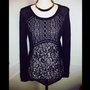 Altar'd State Sheer Black Lace Sweater